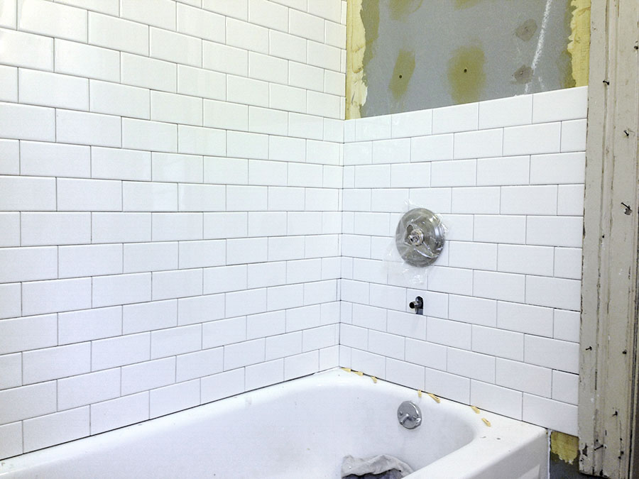 Subway Tile In Our Victorian Bathroom