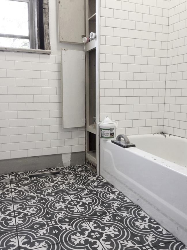 Installing Patterned Floor Tile In Our Victorian Bathroom